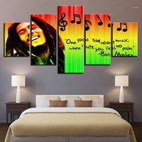 Stampe Immagini Decorazioni per la casa Decor Modular Canvas Art Art 5 pezzi Bob Marley Pittura per soggiorno Musica Manifesto Poster Unframed1
