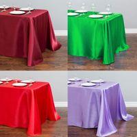 1 unids 22 Mantel de satén de color sólido para decoraciones de bodas Tabla de Navidad Cubierta de mesa cuadrada de mesa cuadrada casa decoración de mesa de comedor 201120