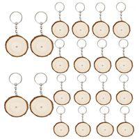 20 stücke Schlüssel Ringe mit Etiketten Schlüsselanhänger Runde Holzringe Leere Schlüsselanhänger Für DIY Craft Hang Tags1