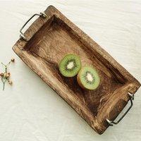Platos platos trazado bandeja de madera rectangular madera sólido el cena café sirviendo postre pan refrigerio fruta de almacenamiento decorativo