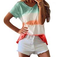 T-shirt da donna Plus Size Donne Boho Lady Rainbow Gradiente manica corta T Shirt T-Top Top Summer Beach Casual Skin Cotton Cotton Ladies Top Gradens