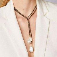 Boho Barock Natürliche Süßwasserperlen Halskette 3mm Kristall Perlen Frauen Halskette 2020 Neue Modeschmuck Hersteller Großhandel1