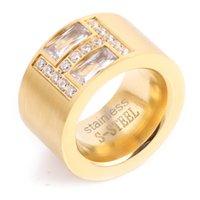 جديد وصول الذهب اللون الدائري بيجو 14 ملليمتر عرض كبير تمهيد الإعداد cz Zicon خاتم الخطوبة للنساء مجوهرات الزفاف