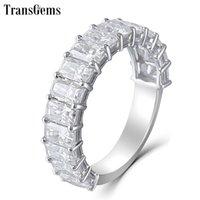 Transgems 14K Weißgold 2/3 Ewigkeit Hochzeitsband 3x5mm F Farbe Strahlung Schneiden Moissanit Diamant Ehering für Frauen Geschenk Y200620