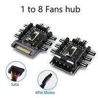 Câbles d'ordinateur Connecteurs Fan HUB 1 à 8 3Pin PWM SATA Molex Splitter PC Câble d'extraction de PC 12V POWER SUPPLY CORET DE REFROIDISSEMENT DE REFROIDISSEMENT 4