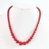 Kettingen mode hoogwaardige rode kunstmatige koraal toren ketting 6-14mm ronde kralen schoonheid vrouwen elegante 18 inch B666