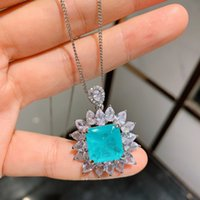 10 * 10mm brasileiro paraíba esmeralda colar de turmalina criado Pedra pedras preciosas para mulheres fina jóias pingente de festa casamento presente