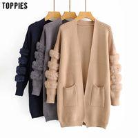 inverno toppies Outono mulheres suéter faux fur longo cardigan coreano moda malha casaco jaqueta 201006