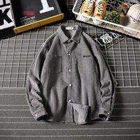 Chemise décontractée pour hommes Hiver rembourré Chemise côtelé Hommes Fashion Fashion Chaud Retro Solide Couleur Coton Libre à manches longues M-5XL1
