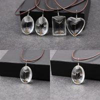 Dissélion Mens Femmes Pendentif Collier Love Coeur en forme de boule de verre Botanique Mode Colliers de Noël Chaîne de Noël 3HX J22B