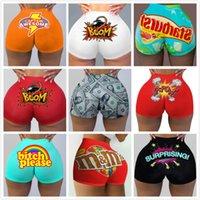 Womens Sport Shorts Plus Size Buchstaben Drucken Sexy Slim Fit Bottoms Bodycon Sommer Clubbekleidung HomeWear Sleepwear