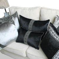 Velvet européen Velvet Luxe Noir Gris Impression Home / Bureau / Canapé / Lit Coussin Décoratif Coussin de coussin de coussin de coussin 45x45 / 40x60cm