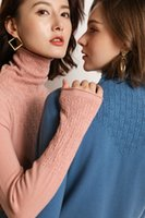 Высокое качество свитер женщин водолазку пуловеры зимы женщин кашемировый свитер До и после пшеницы шип твердый вязаного свитера 201017