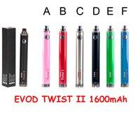 EVOD 2 Twist II VAPorizer VV batteria ricaricabile 1600mAh 3.2v-4.8v Penna VAPA regolabile a tensione variabile regolabile pulsante 510 filettatura e cigs