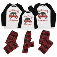 Eltern-Kind-Familie Weihnachten Pyjamas Weihnachten Design Passende toppt und Plaid Hosen zweiteilige Kleidung Erwachsene Kinder Outfit E110203