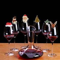 Vinho tinto de vidro do Natal Cartões de Natal de Ano Novo partido de comensal enfeites 10pcs Garrafa de Vinho Tampa Hangings Props Cálice Copos encantadores Flags VT1762