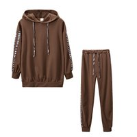 2020 Autumn Winter Two Piece Set Stripe Hoodies Top and Long Pants Casual Sports Suit For Women Tracksuit Joggers Clothing