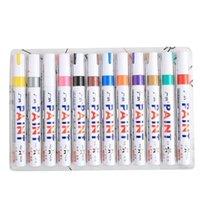 12 قطعة / الوحدة الملونة للماء القلم سيارة الإطارات الاطارات المعادن الطلاء الدائم علامات 201116