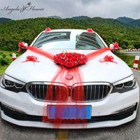 Dekoratif Çiçekler Çelenkler Düğün Araba Dekor Yapay Çiçek Kalp Şeklinde Çelenk Çelenk Ile Enayi Çekin Yay Şerit Kapı Ön Görünüm