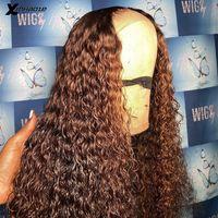 Spitze Perücken Highlight braun # 30 kinky lockige tiefe teile vorne menschliches haar brasilianer remy 5 * 5 '' Seidenbasis Frontal Perücke für Frauen