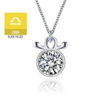 Varole Libra 12 Signos del zodiaco Cadena para las mujeres Collares de cristal Colgantes Joyería de moda Trendy Ropa Accesorios