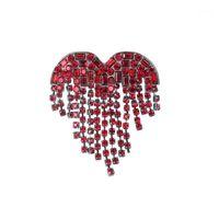 Pines, Broches Baiduqiandu Llegada Crystal Tassel Red / Clear Heart Broche Pines Moda Mujer Ropa Accesorios de joyería1