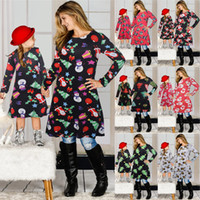 Christmas Family Matching Clothes Mother Daughter xmas Matching Dresses Long Sleeve Skirt Christmas Print Parent-child Dress Outfits FFA4506