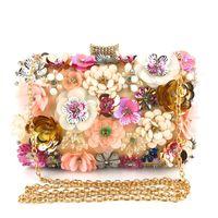 Оптово-ручная ручная сумка из бисера сумки женщин кристалл цветок вечерняя сумка девушка цепь скрещивание сумки Bling-Bling Party с золотой цепью