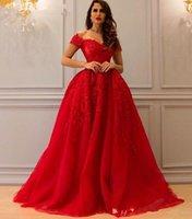 Bling bling robes de soirée rouges avec de la danglière longue chérie applique perlée longueur longueur Saoudite arabe femmes formelles Occuping Occasin Robes