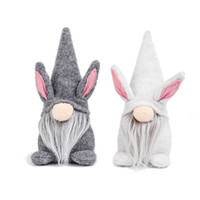 Easter Bunny Gnome Gray White Faceless Bunny Dwarf Doll Kids...