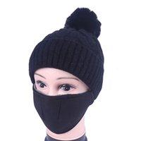 DHL Versand Pom Mützen Hut mit Gesichtsmaske Frauen Winter Hohe Strickkappen Sicherheitsfilter Verdicken Wärmer Party Hüte Kimter-X856FZ 2 NSJ7U