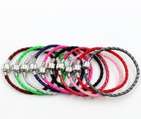 Catene di braccialetti in pelle a fibbia in argento per bracciali Pandora 17 cm 19 cm 21cm 57 colori braccialetto Braccialetto in forma europea perline di fascino 2278