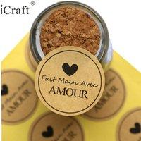 """1200pcs """"Fait Main AVEC Amour"""" Kraft Seal Sticker, Adesivo in etichetta per sigilli fatti a mano francese per il favorita del partito Borsa regalo Box di caramelle Decor 200929"""