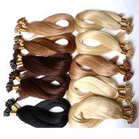 """Estensioni per capelli di tipo u-tip da 8a pre-legato dritto brasiliano trama dei capelli tessuto 20 """"24"""" # 1 # 2 # 4 E Blond 1g Strand, 100G Pack Bella Hai"""
