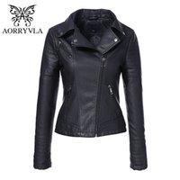 AORRYVLA Yeni Bahar Sonbahar kadın Moto Biker Fermuar Ceket Dinsiz Yaka Siyah PU Faux Deri Ceket Ince Lady Temel Coat LJ201126