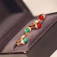 Lyxig kvalitet punk opening ring med malakit och röd agat för kvinnor bröllop smycken present pss8805