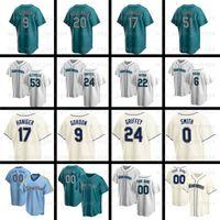 24 Ken Griffey JR Jersey Mariners 22 Robinson Cano 51 Ichiro Suzuki Edgar Martinez Mitch Haniger Dee Gordon 맞춤 야구 유니폼