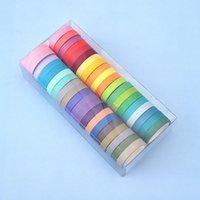 40pcs / box arcobaleno colore solido mascheramento giapponese lavaggio washi appiccicoso nastro adesivo stampa nastro adesivo fai da te scrapbooking deco washi nastro