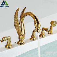 Golden Swan Bathtub Faucet Deck Mounted Bath Shower Set Brass Hand Shower Basin Mixer Tap Widespread Tub Sink Faucet1