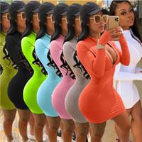 Herbst 2020 neue Frauen-Kleid gedruckt Reißverschluss Fest Farbe mehr Farben erhältlich Art und Weise beiläufig reizvolle dünne feste Damen-Kleider Neuer CY9807