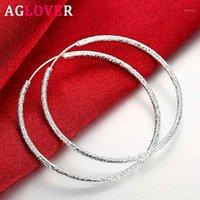 Hoop Huggie Aglover 51mm 100% 925 Ayar Gümüş Büyük Buzlu Küpe Kadınlar Için Moda Takı Hediye Toptan Küpe1