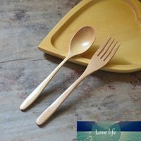 100pcs Natural Wood Spoon And Fork Dinnerware Coffee Tea Spoon Salad Fruit Fork Tableware Green Healthy Wooden Cutlery SN1288