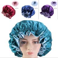 الحرير الحرير الشعر بونيه واسعة حافة مواجهة مزدوجة مزودة القبعات جولة مطاطا دش كاب متعدد الألوان السيدات الكبار شعبي 7 45ba G2