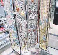 7styles Мода EXCELENT 100% шелковый галстук шарф 2020 женщин способа шелка волос оголовья повелительница шарф небольшие ленты напечатаны шелковые шарфы 6 * 100см