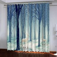 blue forest 3d curtains Customized size Luxury Blackout 3D W...