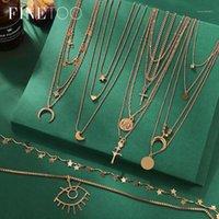 Anhänger Halsketten Vintage Multi Layered Halskette Frauen Mode Gold Farbe Crescent Moon Star Choker Schmuck 1