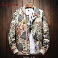 Zongke японская вышивка мужская куртка пальто человек хип-хоп уличная одежда мужчин куртка пальто бомбардировщик одежда 2019 sping new1