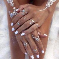 Juego de anillo de plata sólido único Joyería de plata barata Anillo tribal de mujer antigua en la combinación de la venta