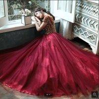 Vestido De Festa 2020 Tulle di vino A Line High Cowl Prom Dress Manica Corta pesantemente Beaking Hollow Back Sexy Corset Prom Gowns1