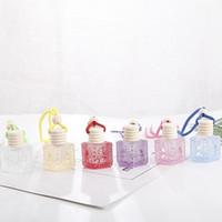 Bouteille coloré voiture parfum Pendentif Huile Essentielle Diffuseur Ornements Désodorisant Pendentif Bouteille en verre Parfum vide IIA793